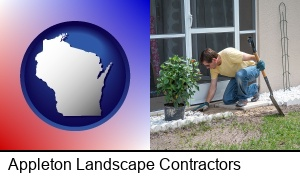 Appleton, Wisconsin - a landscape contractor working on a landscaping project