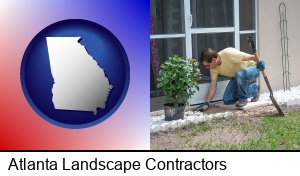 Atlanta, Georgia - a landscape contractor working on a landscaping project