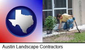 Austin, Texas - a landscape contractor working on a landscaping project