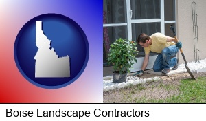 Boise, Idaho - a landscape contractor working on a landscaping project