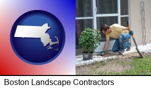 Boston, Massachusetts - a landscape contractor working on a landscaping project