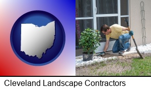 Cleveland, Ohio - a landscape contractor working on a landscaping project