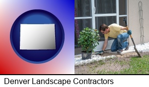 Denver, Colorado - a landscape contractor working on a landscaping project