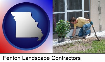 a landscape contractor working on a landscaping project in Fenton, MO