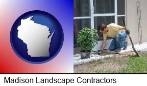 Madison, Wisconsin - a landscape contractor working on a landscaping project