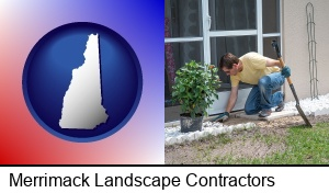 Merrimack, New Hampshire - a landscape contractor working on a landscaping project