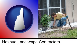 Nashua, New Hampshire - a landscape contractor working on a landscaping project