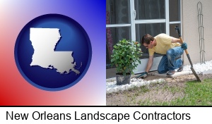 New Orleans, Louisiana - a landscape contractor working on a landscaping project