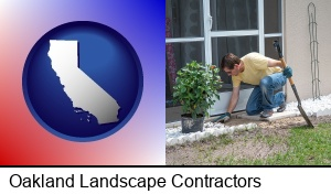 Oakland, California - a landscape contractor working on a landscaping project