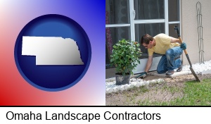 Omaha, Nebraska - a landscape contractor working on a landscaping project