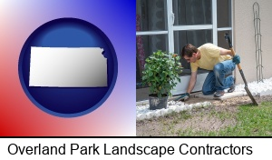 Overland Park, Kansas - a landscape contractor working on a landscaping project