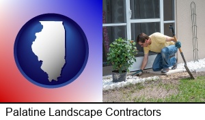 Palatine, Illinois - a landscape contractor working on a landscaping project