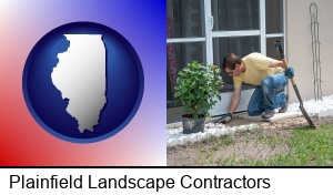 Plainfield, Illinois - a landscape contractor working on a landscaping project