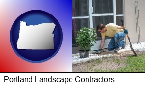 Portland, Oregon - a landscape contractor working on a landscaping project
