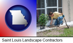 Saint Louis, Missouri - a landscape contractor working on a landscaping project
