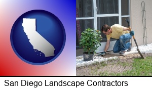 San Diego, California - a landscape contractor working on a landscaping project