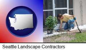 Seattle, Washington - a landscape contractor working on a landscaping project