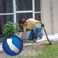 california a landscape contractor working on a landscaping project