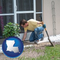louisiana map icon and a landscape contractor working on a landscaping project