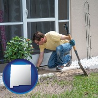 new-mexico map icon and a landscape contractor working on a landscaping project