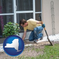 new-york map icon and a landscape contractor working on a landscaping project