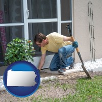pennsylvania a landscape contractor working on a landscaping project