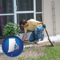rhode-island map icon and a landscape contractor working on a landscaping project