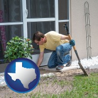 texas map icon and a landscape contractor working on a landscaping project