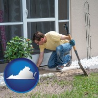 virginia a landscape contractor working on a landscaping project