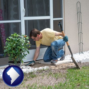 a landscape contractor working on a landscaping project - with Washington, DC icon