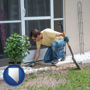 a landscape contractor working on a landscaping project - with Nevada icon