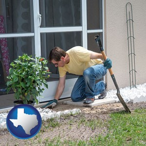 a landscape contractor working on a landscaping project - with Texas icon