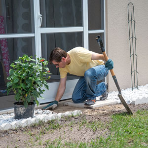 a landscape contractor working on a landscaping project