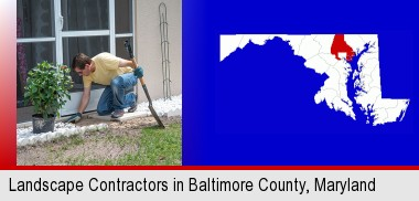 a landscape contractor working on a landscaping project; Baltimore County highlighted in red on a map