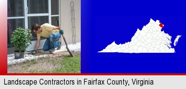 a landscape contractor working on a landscaping project; Fairfax County highlighted in red on a map