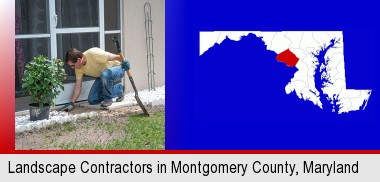 a landscape contractor working on a landscaping project; Montgomery County highlighted in red on a map