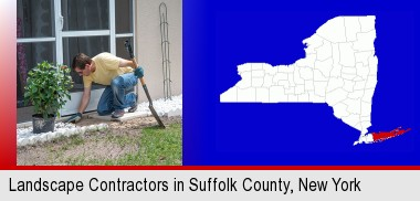 a landscape contractor working on a landscaping project; Suffolk County highlighted in red on a map